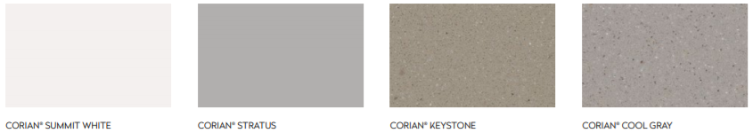 Four colors of Corian Solid Surface with Resiliance Technology